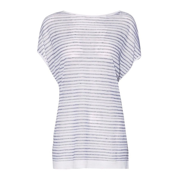 6e37f7825e1 NWT Theory Tieback Striped Linen Blend Knitted Top